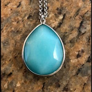Fossil turquoise glass necklace